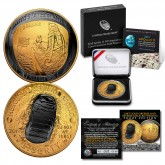 Apollo 11 50th Anniversary 2019 Curved Proof Silver Dollar – BLACK RUTHENIUM / 24K GOLD - Limited & Numbered of 169