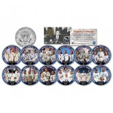 APOLLO ASTRONAUT CREWS - Colorized JFK Half Dollar U.S. 12-Coin Set - NASA Space Program