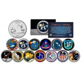 The APOLLO SPACE MISSIONS - Colorized Florida Quarters US 13-Coin Complete Set - NASA PROGRAM
