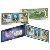 AQUARIUS - Horoscope Zodiac - Genuine Legal Tender Colorized U.S. $2 Bill
