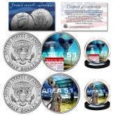 AREA 51 - ALIEN UFO Top Secret Extraterrestrial Space Ship JFK Half Dollar U.S. 2-Coin Set