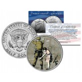 BANKSY - GIRL FRISKING SOLDIER - Colorized JFK Half Dollar U.S. Coin - Street Art Graffiti