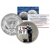 BANKSY - I LOVE NY DOCTOR - Colorized JFK Half Dollar U.S. Coin - Street Art Graffiti