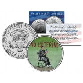 BANKSY - NO LOITERING - Colorized JFK Half Dollar U.S. Coin - Street Art Graffiti