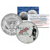 BANKSY - FOLLOW YOUR DREAMS - Colorized JFK Half Dollar U.S. Coin - Street Art Graffiti