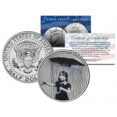 BANKSY - UMBRELLA GIRL - Colorized JFK Half Dollar U.S. Coin - Street Art Graffiti