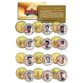 GOLDEN BASEBALL LEGENDS - Hall of Fame - State Quarters US 12-Coin Set 24K Gold Plated