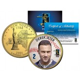 DEREK JETER Colorized New York State Quarter U.S. 24K Gold Plated Coin YANKEES - Officially Licensed