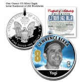 YOGI BERRA 2006 American Silver Eagle Dollar 1 oz U.S. Colorized Coin Yankees - Officially Licensed