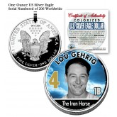 LOU GEHRIG 2006 American Silver Eagle Dollar 1 oz U.S. Colorized Coin Yankees - Officially Licensed