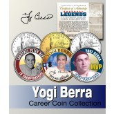 Baseball Legend YOGI BERRA New York Statehood Quarters US Colorized 3-Coin Set - Officially Licensed