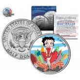 """BETTY BOOP """" City """" JFK Kennedy Half Dollar US Colorized Coin - Marilyn Monroe Pose - Officially Licensed"""