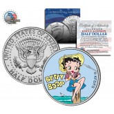 """BETTY BOOP """" Fishing """" JFK Kennedy Half Dollar US Colorized Coin - Officially Licensed"""