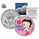 """BETTY BOOP """" Kiss """" JFK Kennedy Half Dollar US Colorized Coin - Officially Licensed"""