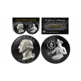 Black RUTHENIUM 2-Sided 1976 Bicentennial Quarter with Genuine SILVER Highlights Obverse & Reverse