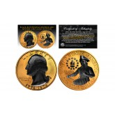 24K GOLD Plated 2-Sided 1976 Bicentennial Quarter with Black RUTHENIUM Highlights Obverse & Reverse