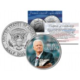 Reverend BILLY GRAHAM - Evangelical Preacher - JFK Kennedy Half Dollar U.S. Colorized Coin