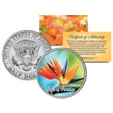 BIRD OF PARADISE FLOWER JFK Kennedy Half Dollar U.S. Colorized Coin