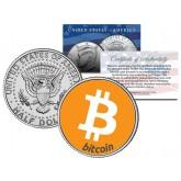 BITCOIN Commemorative Collectors Coin Art on Official JFK Kennedy Half Dollar U.S. Coin
