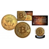 BITCOIN Physical Commemorative Crypto Block Chain 24K Gold Plated JFK Half Dollar U.S. Coin