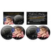 BLACK NICKEL Colorized ENIGMA Edition 2015 JFK Half Dollar 2-Coin Set - P&D MINT