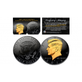 Black RUTHENIUM * BLACKOUT EDITION * Clad 2016 Kennedy Half Dollar U.S. Coin with 24K Gold Clad JFK Portrait - P Mint