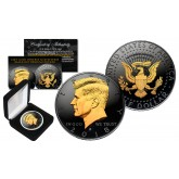Black RUTHENIUM 2-SIDED 2018 Kennedy Half Dollar U.S. Coin with 24K Gold Clad JFK Portrait on Obverse & Reverse (D Mint) in Deluxe Display Felt Box