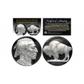 1930's BLACK RUTHENIUM Original Indian Head Buffalo Nickel *FULL DATES* GENUINE SILVER Highlights Obverse & Reverse