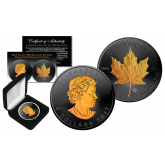2017 BLACK RUTHENIUM & 24K GOLD .9999 Genuine Silver 1 oz CANADA MAPLE LEAF BU with Deluxe Felt Display Box