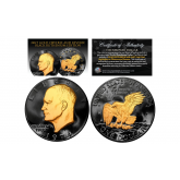 Black RUTHENIUM 2-Sided Eisenhower IKE Dollar with 24KT Gold Clad Highlights on Obverse & Reverse