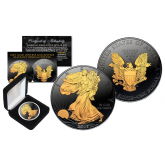 Black RUTHENIUM 1 Oz .999 Fine Silver 2017 American Eagle U.S. Coin with 2-Sided 24K Gold clad and Deluxe Felt Display Box