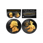 Black RUTHENIUM 2-Sided 1976 Bicentennial Quarter with 24KT GOLD Highlights Obverse & Reverse