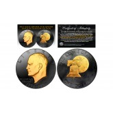 Black RUTHENIUM 2-Sided 1976 Bicentennial Eisenhower Dollar with 24KT Gold Clad Highlights Obverse & Reverse