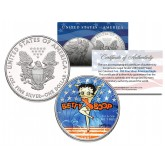 BETTY BOOP 2001 American Silver Eagle Dollar 1 oz Colorized U.S. Coin - Officially Licensed