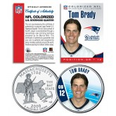 TOM BRADY Colorized Massachusetts State Quarter U.S. Coin NFL New England Patriots - Officially Licensed