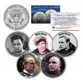 MARLON BRANDO - MOVIES - Colorized JFK Kennedy Half Dollar U.S. 5-Coin Set