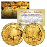 24K Gold Plated 2006 & 2014 AMERICAN GOLD BUFFALO Indian 2-Coin Set