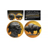 1930's 24K GOLD PLATED Original Indian Head Buffalo Nickel *FULL DATES* BLACK RUTHENIUM Highlights on Obverse & Reverse