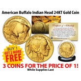 24K Gold Plated 2006 AMERICAN GOLD BUFFALO Indian Coin - BUY 1 GET 2 FREE - Three Coins For the Price of One