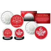CANADA 150 ANNIVERSARY RCM Royal Canadian Mint Medallions 2-Coin Set - Exclusive Canada Red Logos