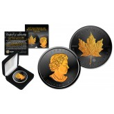 2018 BLACK RUTHENIUM & 24K GOLD .9999 Genuine Silver 1 oz CANADA MAPLE LEAF BU with Deluxe Felt Display Box