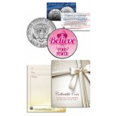 BREAST CANCER AWARENESS - Colorized JFK Half Dollar Coin - BELIEVE - Hope - PINK POWER