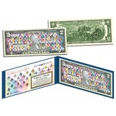 Cancer Awareness - RIBBONS OF HOPE - Colorized U.S. $2 Bill - STAND UP 2 CANCER