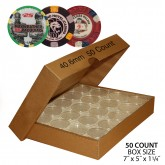 CASINO or POKER CHIP Direct-Fit Airtight 40.6mm Coin Capsule Holders (QTY: 50) **COMES PACKAGED WITH BOX AS SHOWN**