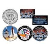 SPACE SHUTTLE CHALLENGER STS-51-L - In Memoriam - Colorized JFK Half Dollar U.S. 3-Coin Set - NASA