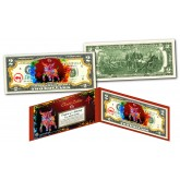 Chinese ZODIAC Genuine U.S. $2 Bill Red Polychrome Blast * YEAR of the OX * NEW