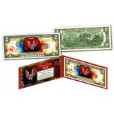Chinese ZODIAC Genuine U.S. $2 Bill Red Polychrome Blast * YEAR of the ROOSTER * NEW