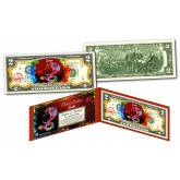 Chinese ZODIAC Genuine U.S. $2 Bill Red Polychrome Blast * YEAR of the SNAKE * NEW