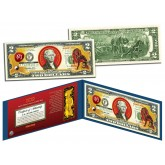 Chinese Zodiac - YEAR OF THE DOG - Colorized $2 Bill U.S. Legal Tender Currency