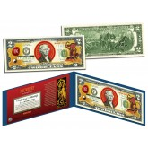 Chinese Zodiac - YEAR OF THE MONKEY - Colorized $2 Bill U.S. Legal Tender Currency